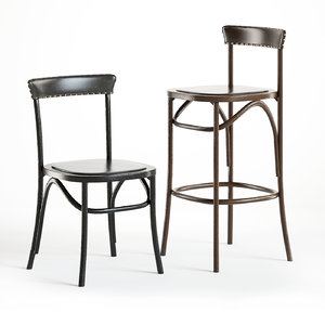 3D model pottery barn lucas dining chair