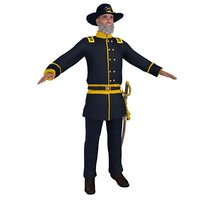 civil war officer 3D model