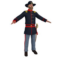 civil war officer 3D