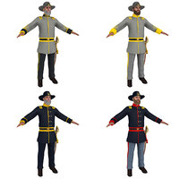 3D pack civil war officer