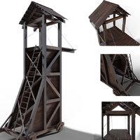 3D model tower siege medieval