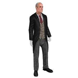 3D model butler rigged