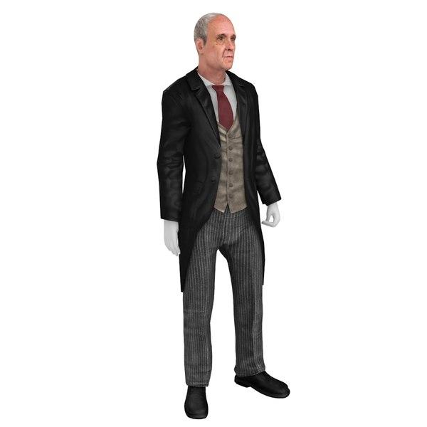 3D model butler rigged