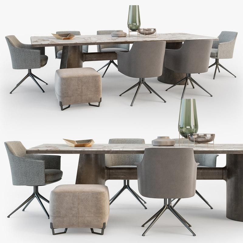 poliform kensington table stanford 3D