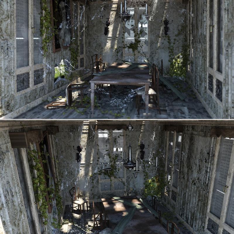 3D abandoned dining room model