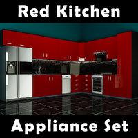 3D kitchen appliance set