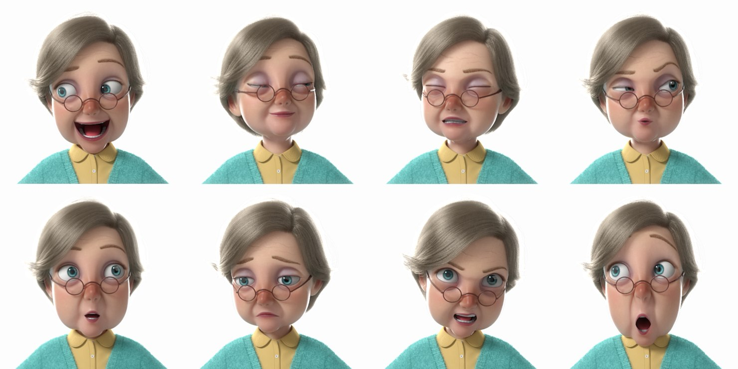 old woman face expressions 3d model rigged turbosquid