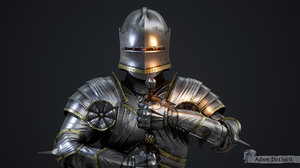 3D rigged character gothic knight model