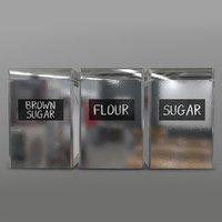 jars flour sugar 3D