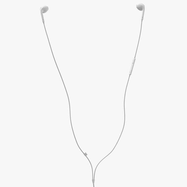 3D model apple earbuds worn