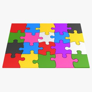 colorful puzzle pieces 3D model
