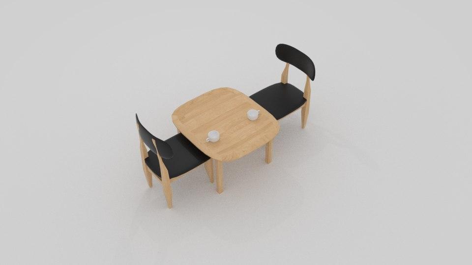 curve cafe chair 3D model