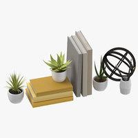 desk decor set 01 3D model