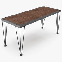 metal wood table 3D model