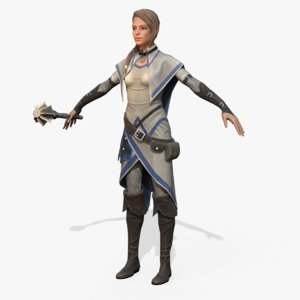 real-time rigged hero cleric 3D model