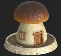 3D cartoon mushroom house