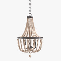 Kenroy Home 93131BS Dumas 3 Lt Wood Bead Chandelier in Brushed Steel