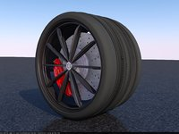 wide car tyre 3D