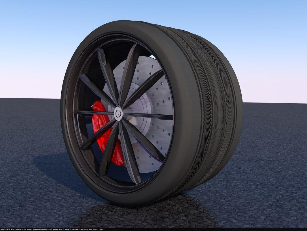 wide car tyre 3D