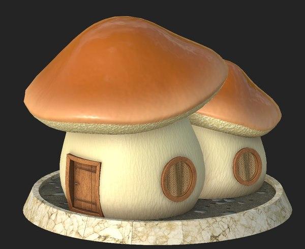 cartoon mushroom house 3D