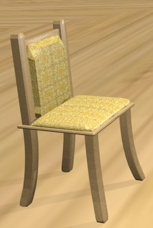 3D wooden chair leather
