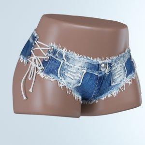 3D jeans denim short