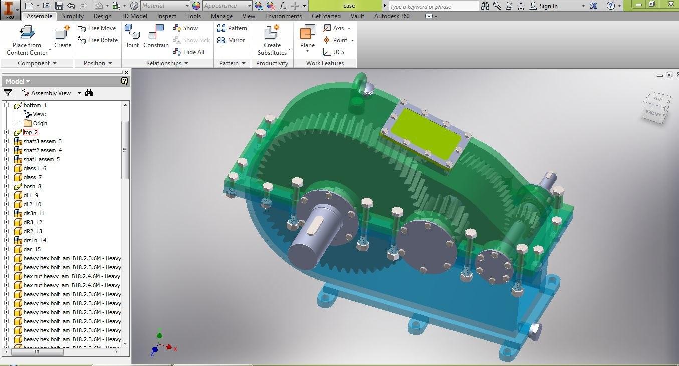 3D speed reducer gearbox