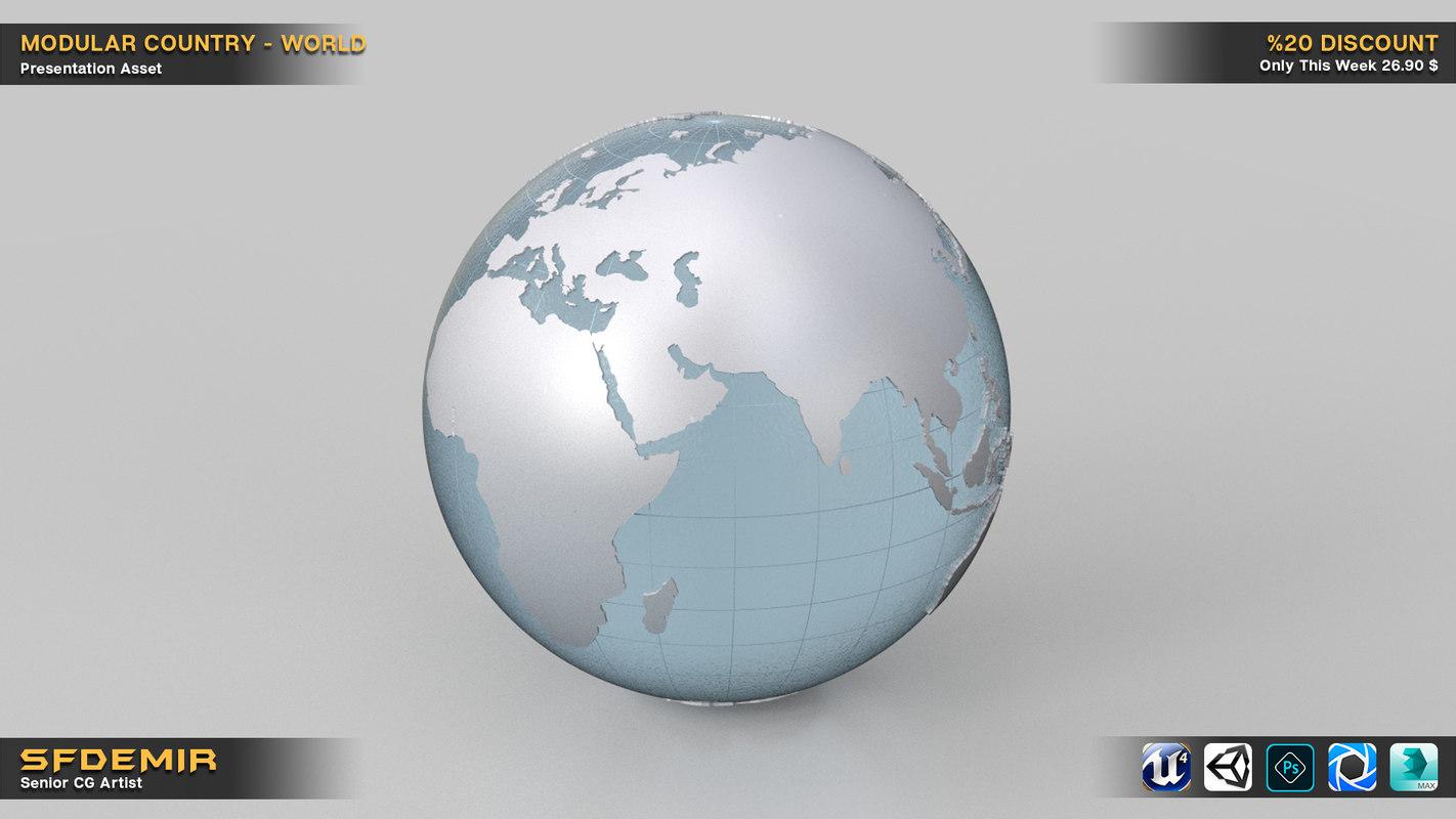 3D world country kitbash model