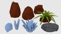 Rocks Crystals Plant Low Poly