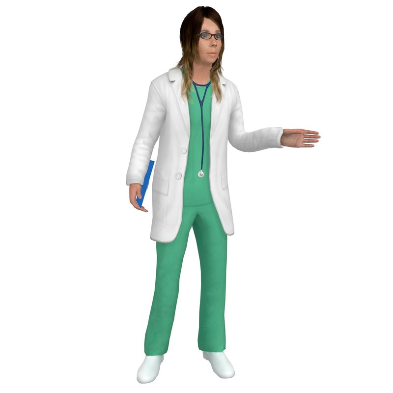3D rigged female doctor