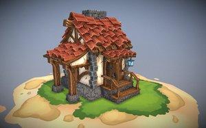 stylized house 3D
