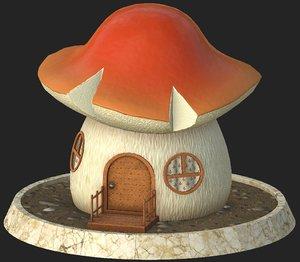 cartoon mushroom house 3D model