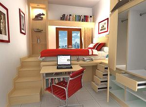 kids boy bedroom 3D model