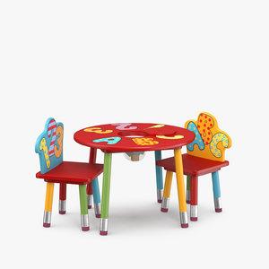 children s table chair 3D model