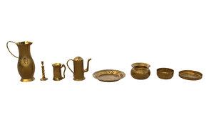 3D brass pots