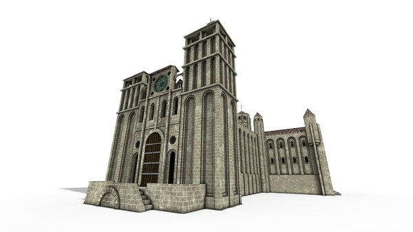 3D romanesque cathedral hermitage houses model