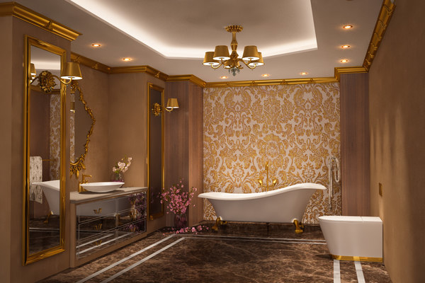scene luxury gold bathroom interior 3D
