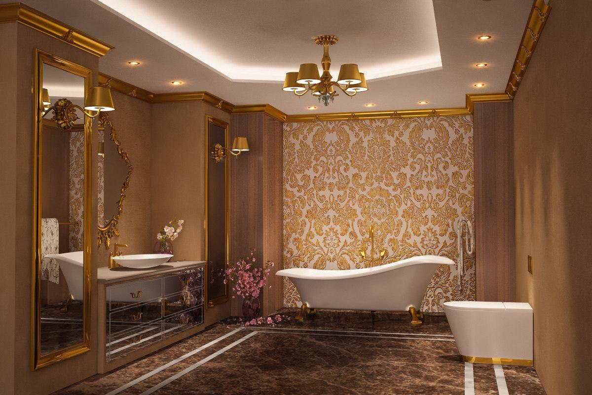 Scene Luxury Gold Bathroom Interior 3d Turbosquid 1290008