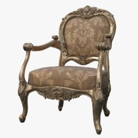 realistic mid-poly baroque armchair 3D model
