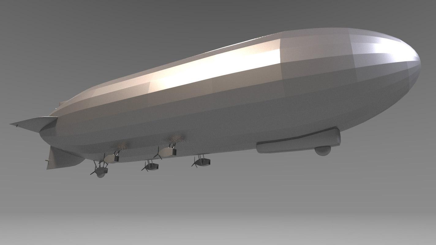 3D hindenburg zeppelin model