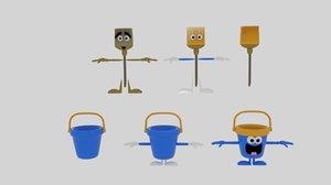 3D model cartoon bucket mop