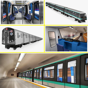 subway trains 3D model