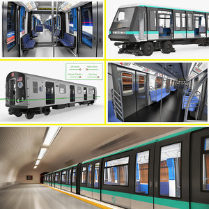 rigged subway trains 3D model