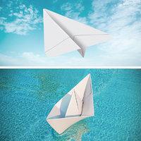 origami paper boat plane 3D model