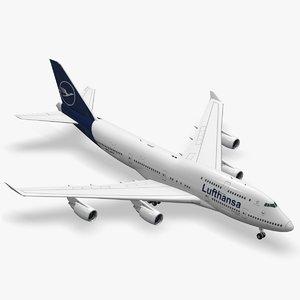 3D boeing 747-400er lufthansa