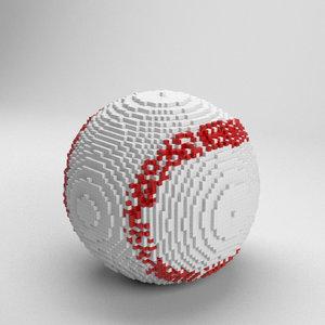 3D voxel baseball ball