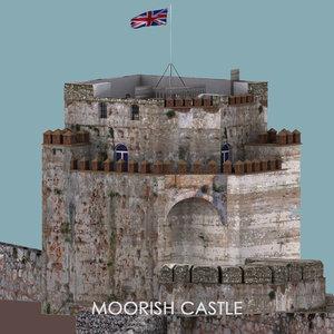 3D model moorish castle gibraltar -