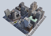 Metropolis city block 3D VR / AR / low-poly 3D model