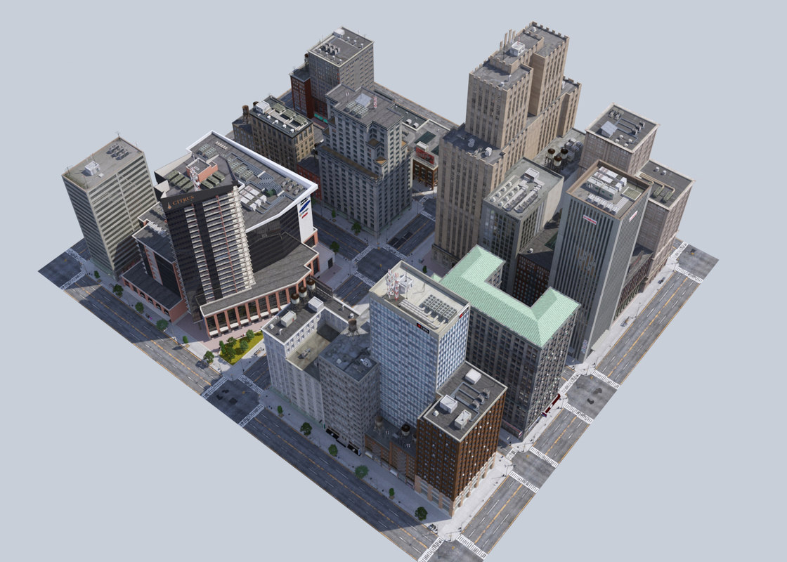 metropolis city block low-poly 3D model