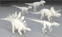 Dinosaur-5 peaces-low poly-part 4